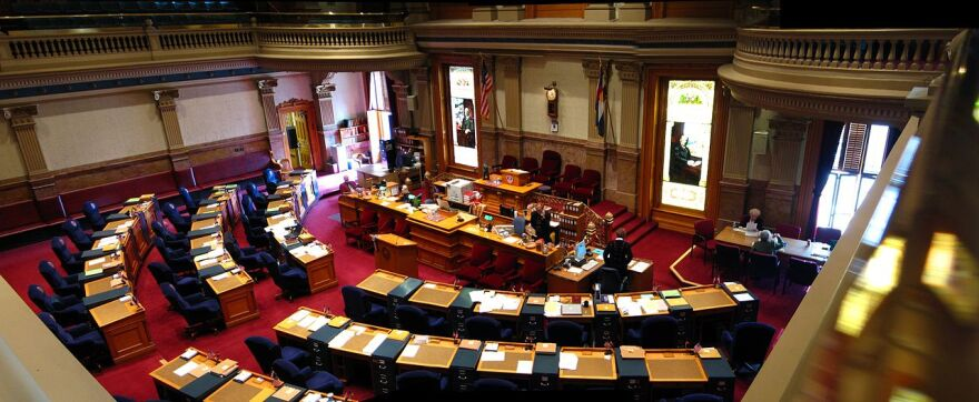 The Colorado Senate Chamber as seen from the balcony, where the public watches proceedings.