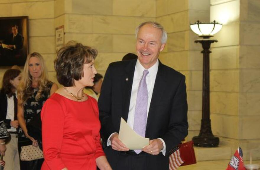 Gov. Asa Hutchinson in a file photo from February 24, 2014 when he filed the paperwork to run for governor.