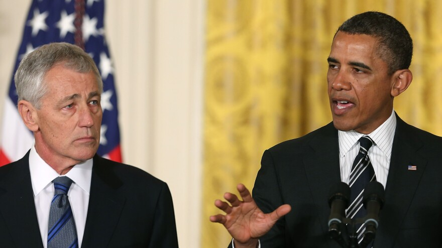 President Obama nominates former Sen. Chuck Hagel, R-Neb., to be defense secretary Monday at the White House.