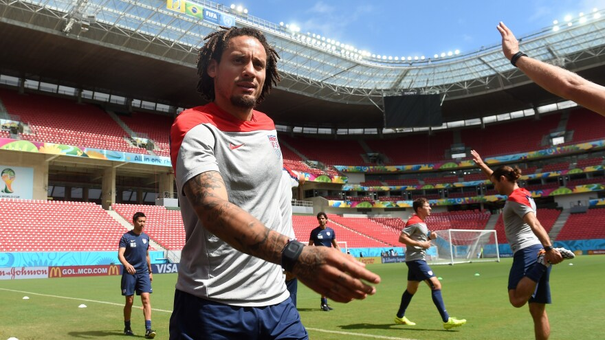 U.S. midfielder Jermaine Jones warms up during a training session at Recife's Pernambuco Arena Wednesday, one day before the Americans face Germany in a decisive Group G soccer match. The game begins at noon, ET.