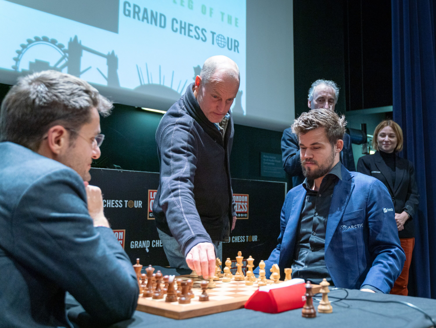 Actor Woody Harrelson is a chess aficionado and made the ceremonial first move in the game between Magnus Carlsen and Levon Aronian in December 2019.