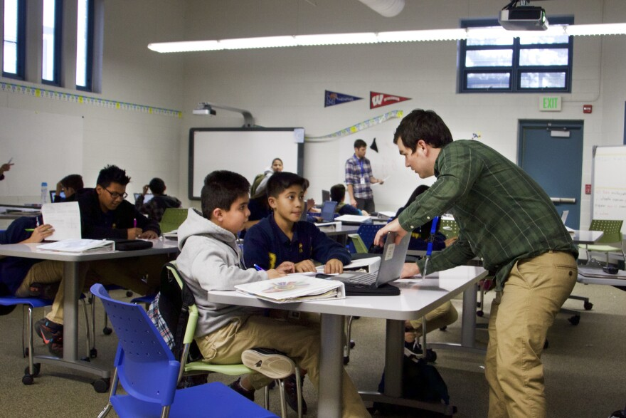 Sixth-graders in a dual-language math class at Kepner Beacon.
