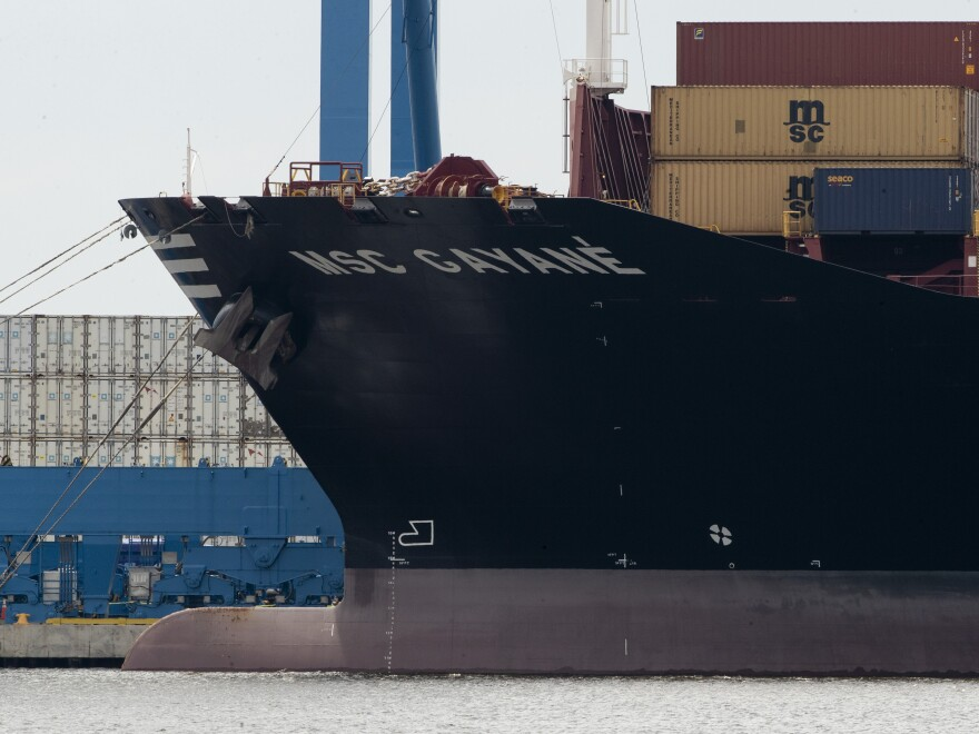The container ship MSC Gayane on the Delaware River in Philadelphia on Tuesday. U.S. authorities have seized more than $1 billion worth of cocaine from a ship, reportedly the Gayane, at a Philadelphia port.