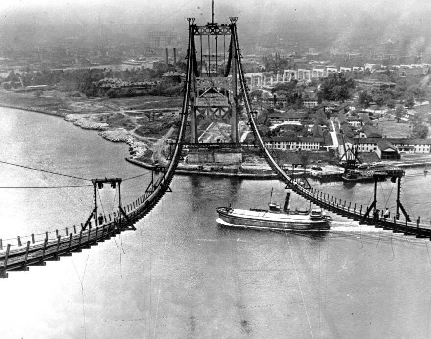The Triborough Bridge is seen under construction in New York City on July 10, 1935. The bridge, now known as the Robert F. Kennedy Bridge, connects Long Island with Manhattan.  The Dutch Prime Minister is a fan of the biographer of Robert Moses, who was involved in building the bridge.