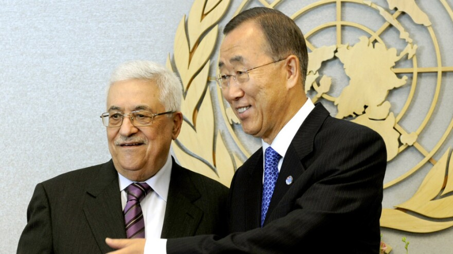 United Nations Secretary-General Ban Ki-moon meets with Mahmoud Abbas, President of the Palestinian Autority at the United Nations in New York.