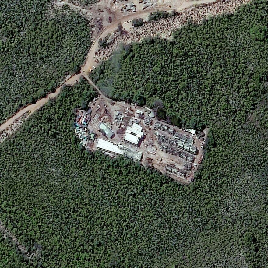 A closeup satellite image of the detention camp in Nauru taken in July 2013.