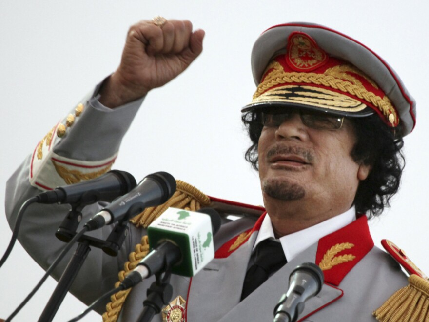 <p>Former Libyan leader Moammar Gadhafi.</p>