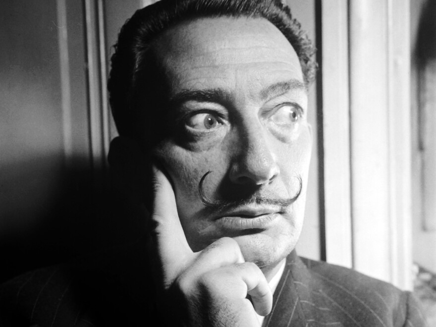 Dalí is seen here in the 1950s.