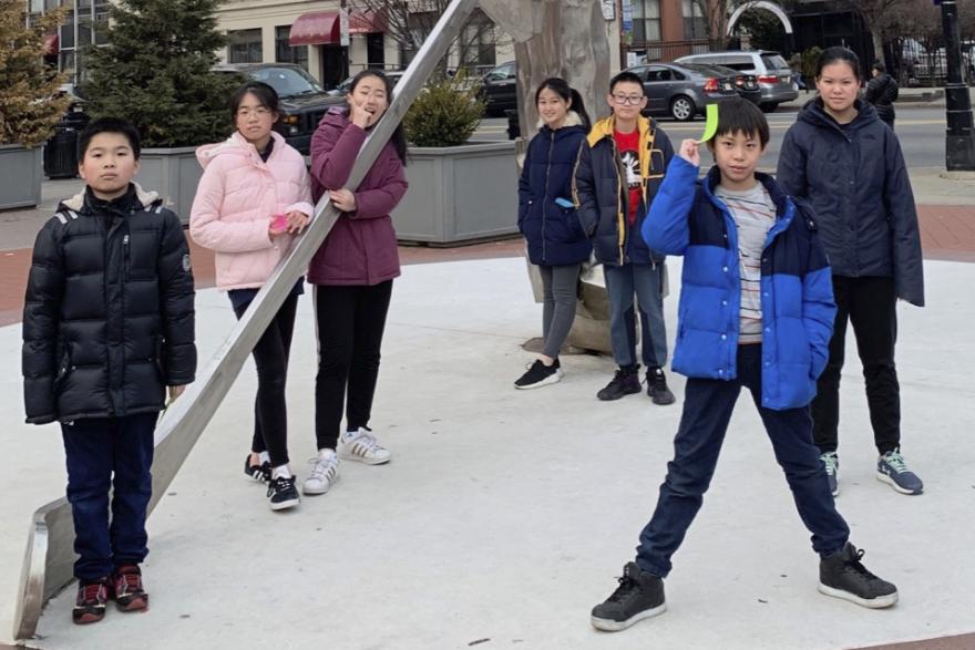 PS 126/Manhattan Academy of Technology students Angelo Chen, Nicole Zheng, Kristi Jiang, Becky Liu, Leo Yu, Si Chen Xu and Zoe Jiang on a school field trip.