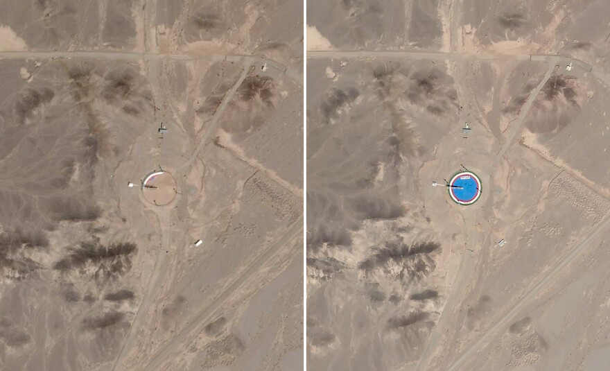 Satellite imagery from April 29 (left) shows the launch pad covered in debris. Imagery from August 24 (right) shows it with a fresh coat of paint.