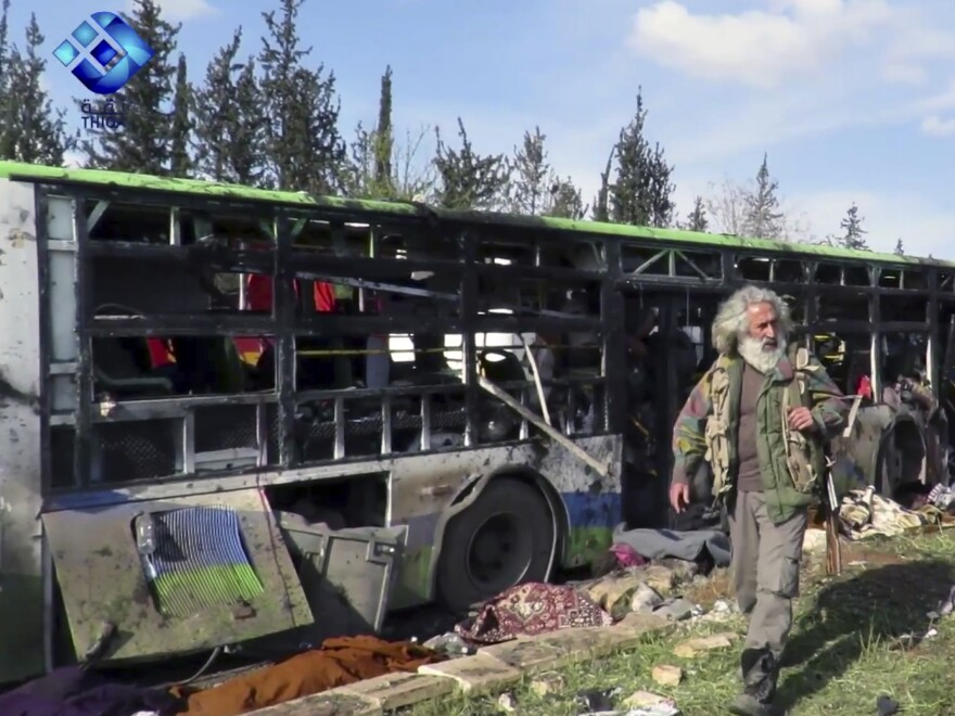 At least 112 were killed following a car bomb attack on buses carrying evacuees from government-held towns in Syria.