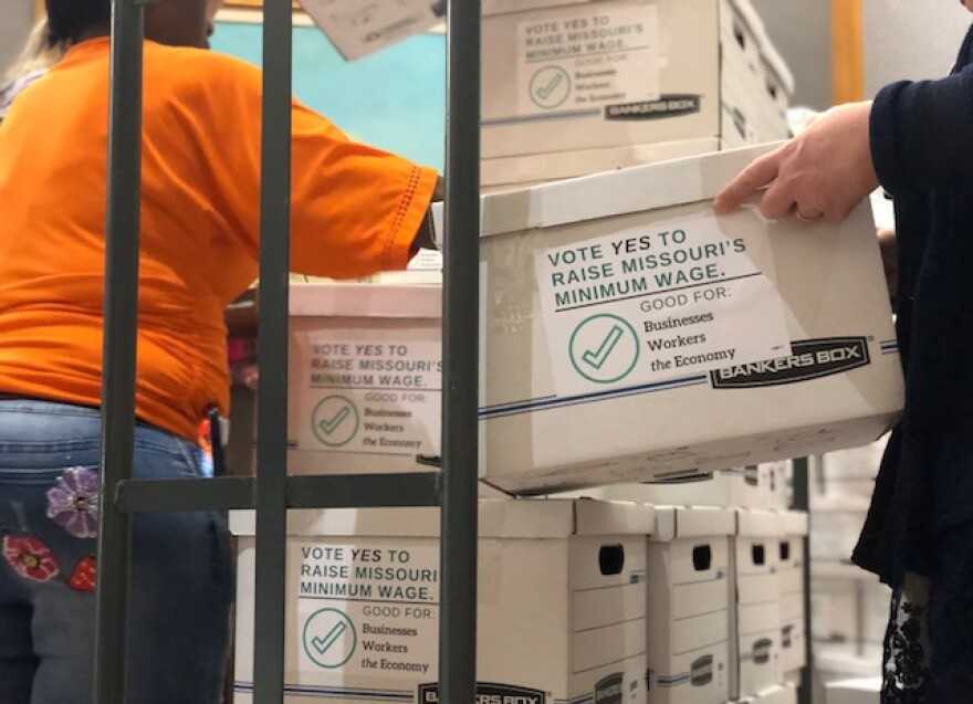 Boxes of signatures were delivered to the Sec. of State's office on May 2, 2018, for a ballot initiative that would raise Missouri's minimum wage.