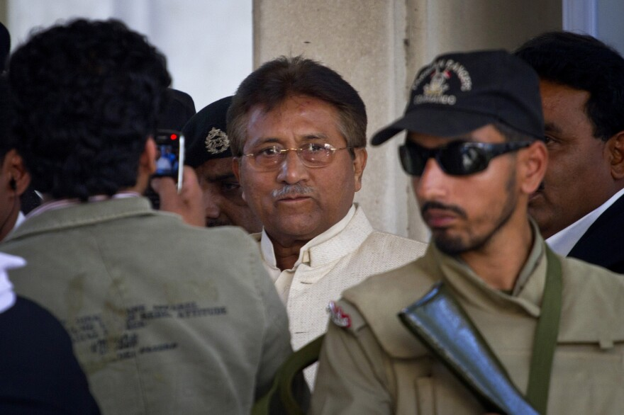 Former military dictator Pervez Musharraf leaves a Pakistani courtroom on Wednesday, April 17. He was detained on Friday, April 18 and held without bail on treason charges.