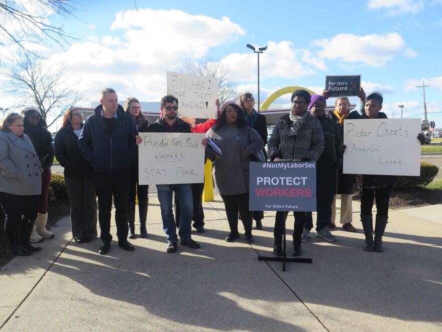Ohio AFL-CIO members protests Secretary of Labor nominee