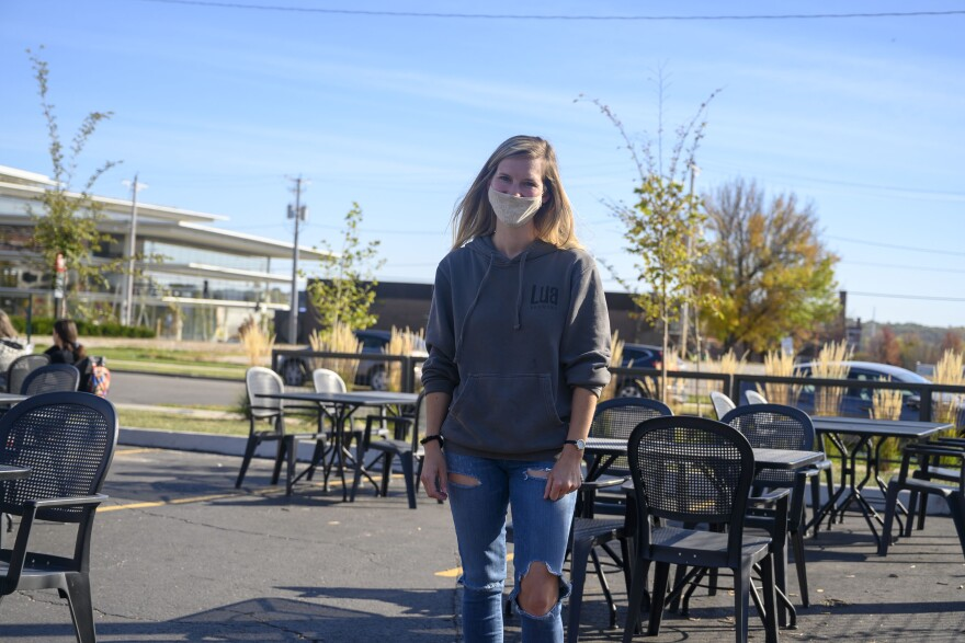 Whitney Selix, the owner of Lua Brewery in Des Moines, says the business she started with her husband has survived the pandemic thanks in part to a large patio area.
