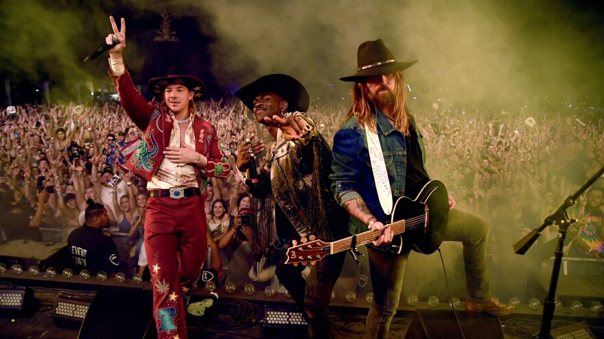 From left: Diplo, Lil Nas X and Billy Ray Cyrus onstage during the Stagecoach Festival in Indio, California on April 28, 2019.