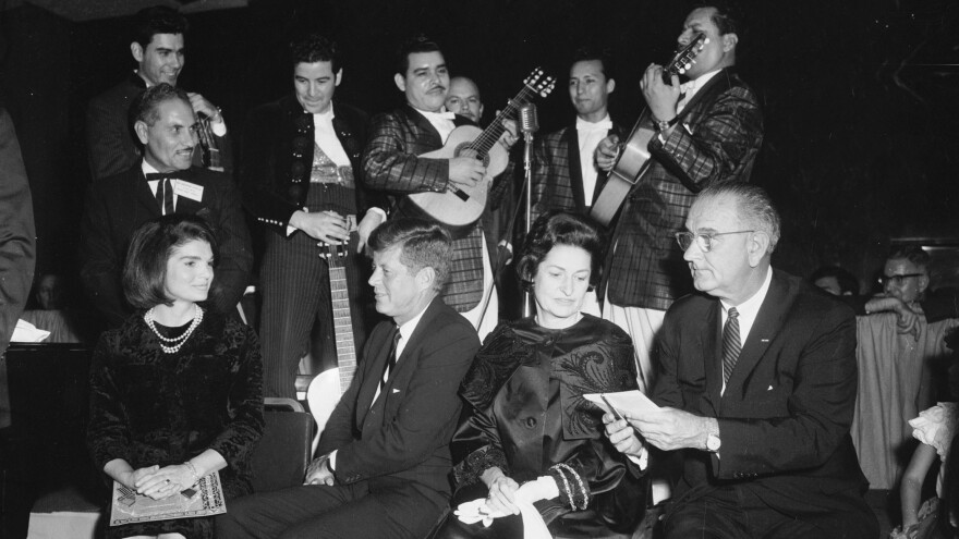 JFK, LBJ, Lady Bird Johnson and Jackie Kennedy with League of Latin American Citizens