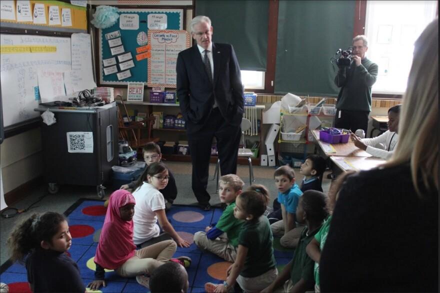 Missouri Gov. Jay Nixon visits students at Mason Elementary School in St. Louis.