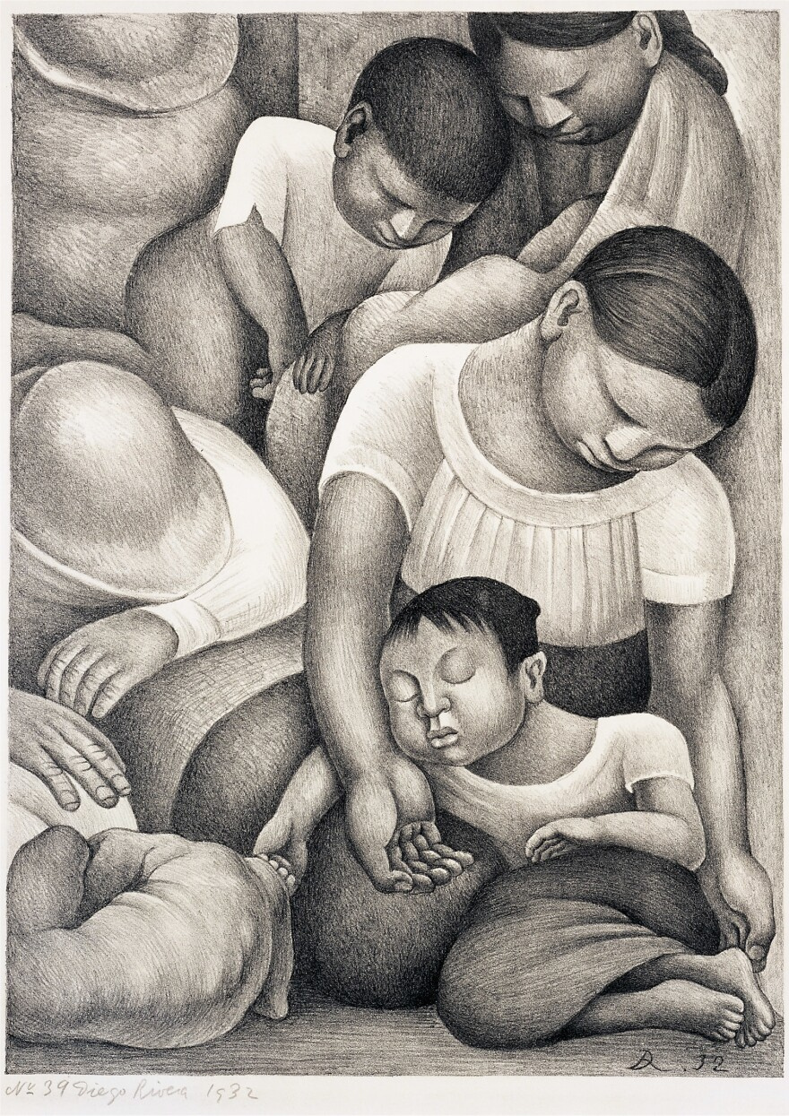 Diego Rivera, <em>Sleep,</em> 1932, lithograph. Collection of the McNay Art Museum, Museum purchase with funds from the Cullen Foundation, the Friends of the McNay, Charles Butt, Margaret Pace Wilson, and Jane and Arthur Stieren.