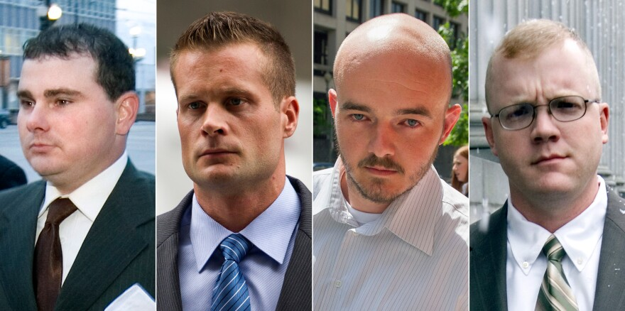 Four former Blackwater guards were sentenced Monday in the 2007 mass shootings of civilians in Baghdad, Iraq (from left): Dustin Heard, Evan Liberty, Nicholas Slatten and Paul Slough. Heard, Liberty and Slough received 30-year sentences. Slatten was sentenced to life in prison.