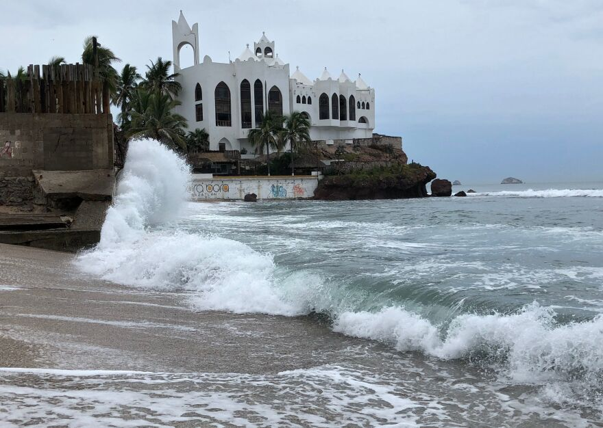 Waves batter Mazatlan in Sinaloa state, Mexico, on Monday, before Hurricane Willa's arrival.