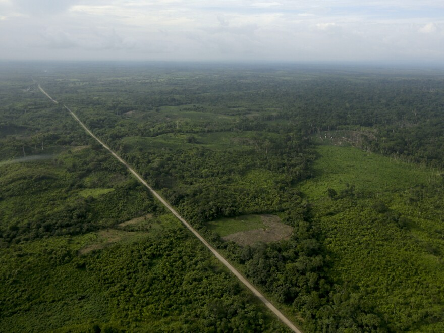The Pan-American Highway is seen from the air near Meteti, Darien Province, Panama, in August 2015. The area known as the Darien Gap is the only break in the highway, which runs from Alaska to Argentina.