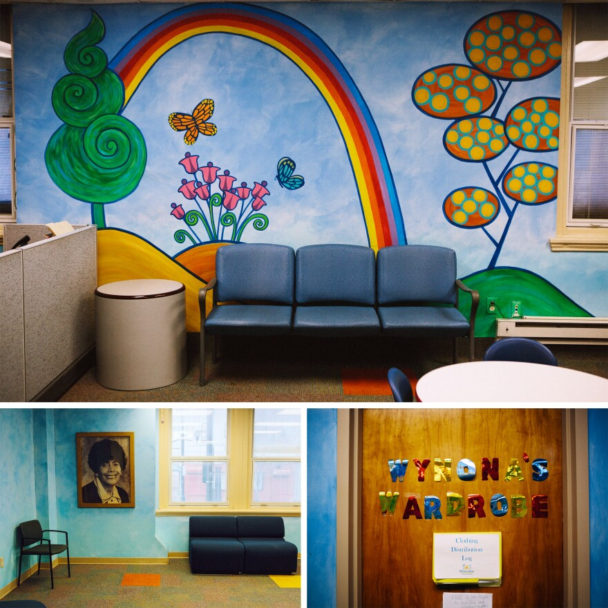<strong>Top:</strong> The waiting room inside Wynona's House Child Advocacy Center in Newark. The center assists children and adults with intellectual disabilities who are victims of abuse. <strong>Left:</strong> A photograph of Sen. Wynona Lipman, for whom the Wynona Lipman Child Advocacy Center is named. <strong>Right:</strong> Decorations inside Wynona's House.