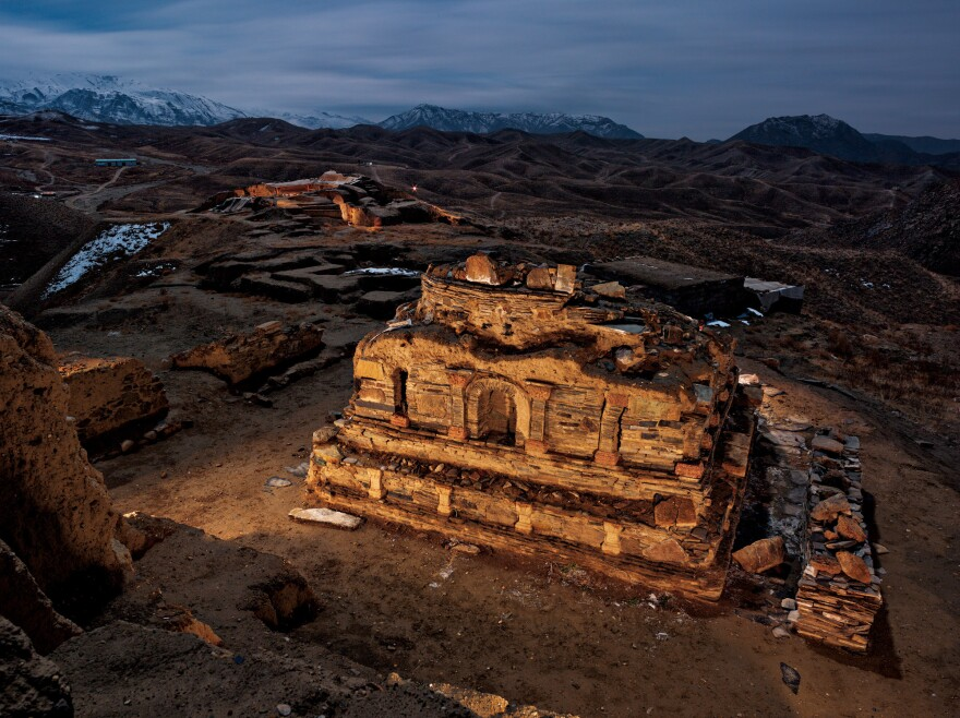 Nearly a hundred ancient Buddhist shrines like this one have been uncovered by archaeologists at Mes Aynak, south of Kabul.
