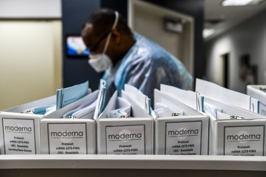 Moderna keeps its protocol files for COVID-19 vaccinations at the Research Centers of America in Hollywood, Florida. On Monday, the Cambridge-based biotech company announced its vaccine was nearly 95% effective. (Chandan Khanna/AFP via Getty Images)