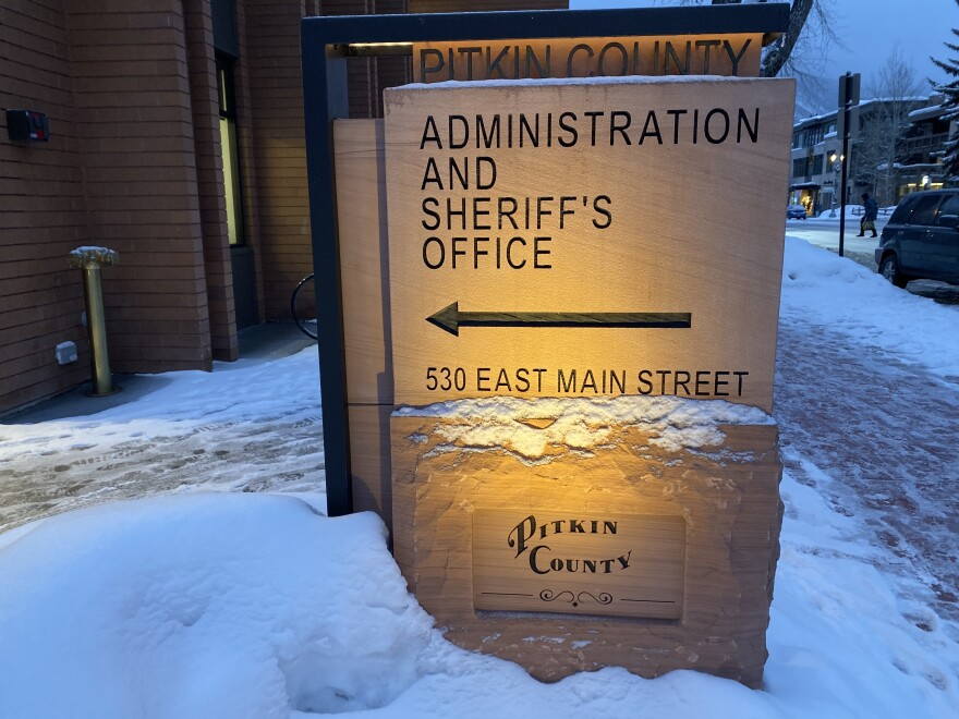 sign for Pitkin County Colorado sheriff's office