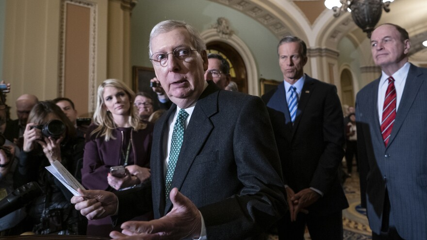 Senate Majority Leader Mitch McConnell, R-Ky., joined by fellow Republican senators, spoke about the Green New Deal Tuesday.