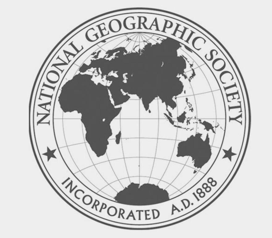 Pictured is the historic emblem for the National Geographic Society.