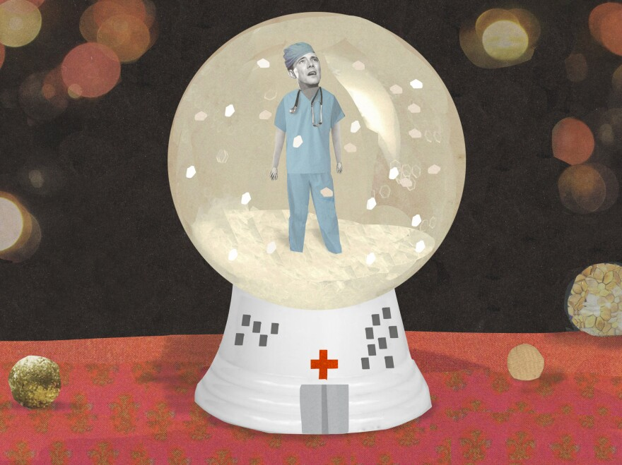 Illustration of a young doctor trapped in a snowglobe by Katherine Streeter for NPR.
