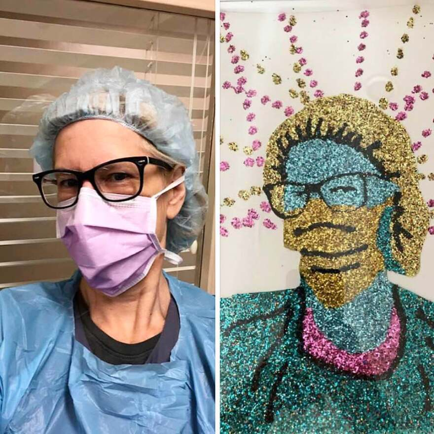 Two photos. One is a selfie of an healthcare worker wearing protective gear next to the portrait artist Dylan Mortimer created from the photo.
