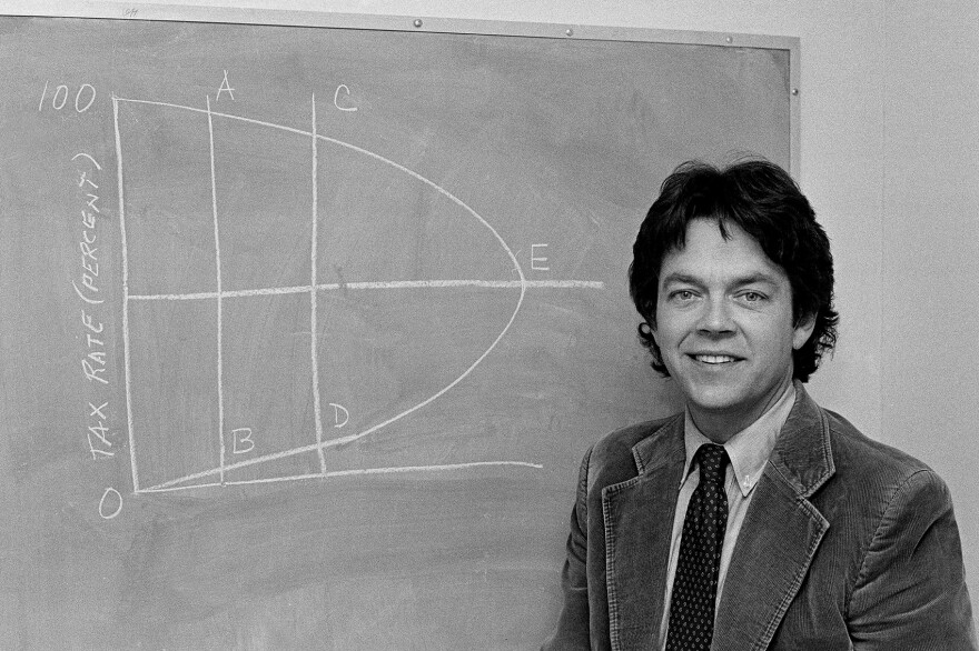 Economist Arthur Laffer's curve, pictured here and first sketched on a cocktail napkin, helped to make tax cuts a staple of conservative economic policy. (AP Photo)