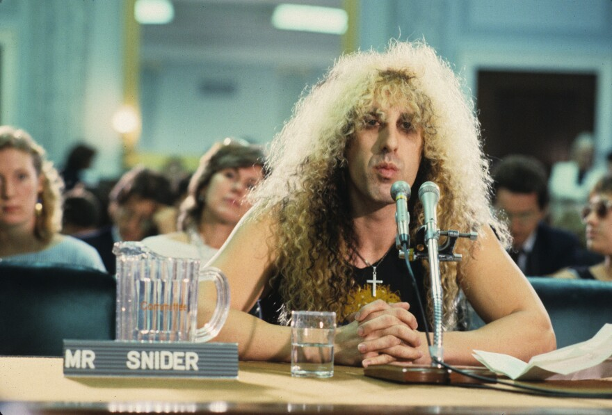 Dee Snider appears on Capitol Hill at the Parents Music Resource Center senate hearing in 1985.