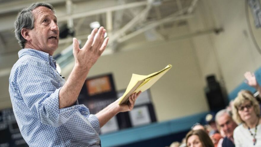 Rep. Mark Sanford, R-S.C., addresses the crowd during a town hall meeting in Hilton Head, S.C., in March 2017.