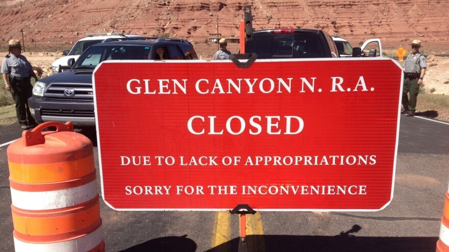 The road to Lee's Ferry, Ariz., is blocked by barricades and national park rangers. Lee's Ferry is the launching point for river trips down the Colorado River through Grand Canyon National Park.
