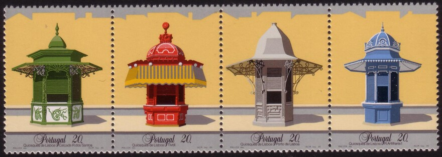 Portuguese stamps from 1985 featuring four kiosks of Lisbon.