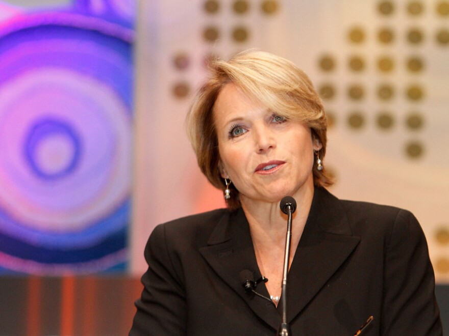 CBS News Anchor Katie Couric speaks at the Fortune/TIME/CNN Global Forum in South Africa in 2010. Couric announced Tuesday that she is stepping down from her position as an anchor with <em>CBS Evening News</em>.