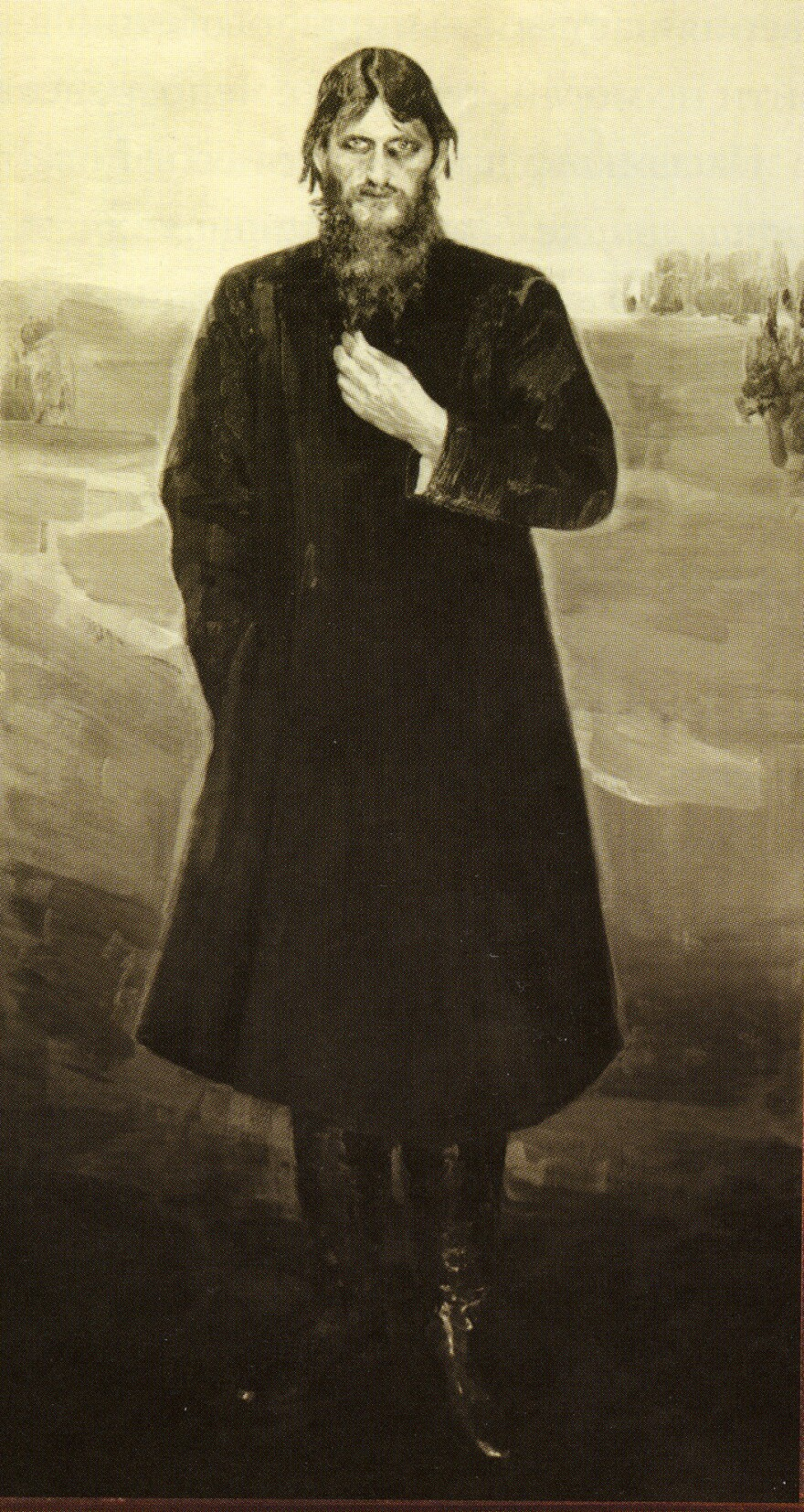 This portrait of Rasputin, looking very much like a Mad Monk, was painted by Alexander Raevsky and commissioned by a female acolyte. Exhibited at the Academy of Fine Arts in 1912, the portrait was lost during the Russian Revolution, but photographs survived.