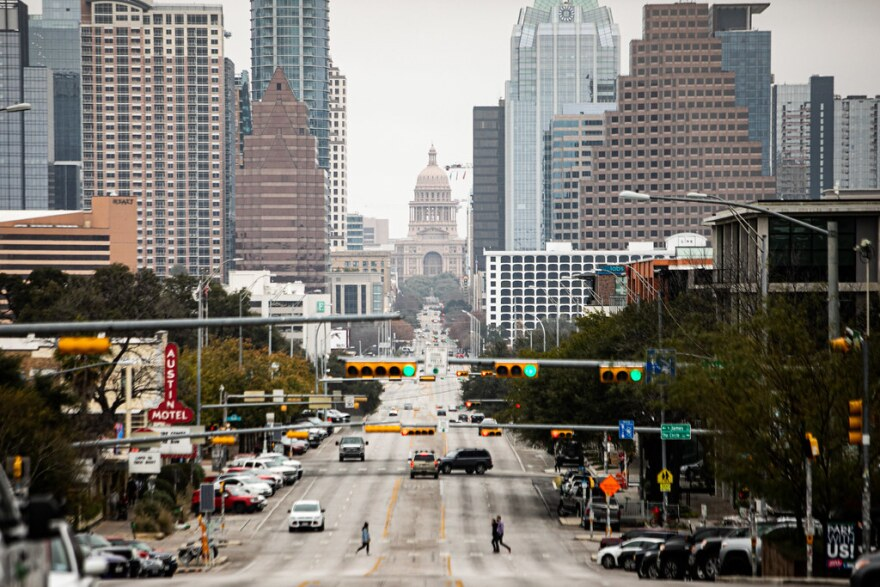 Congress Avenue in Austin looking north toward the state Capitol on Jan. 20.