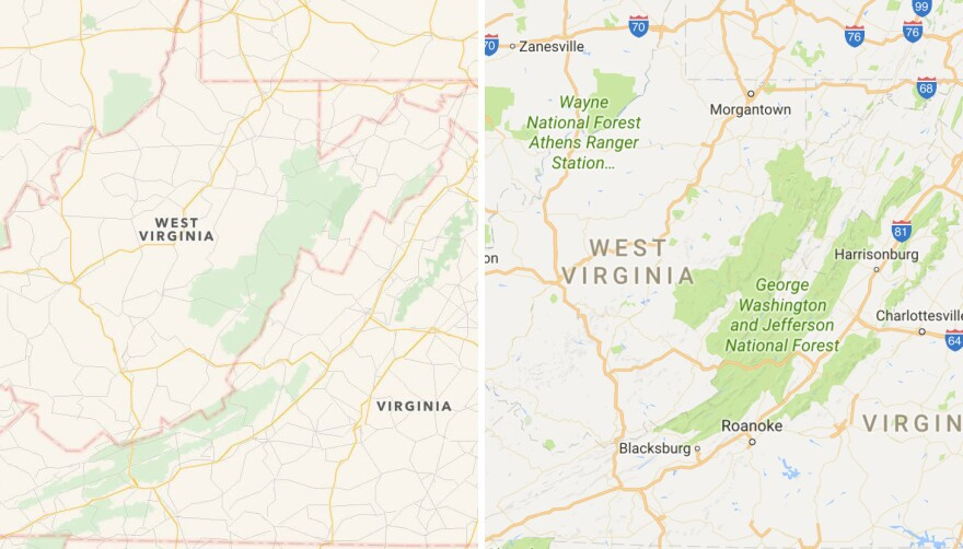 Apple (left) and Google (right) present different parts of the George Washington and Jefferson national forests along the Virginia-West Virginia border, displaying either mostly the George Washington National Forest or the Jefferson National Forest but not the two together in their entirety.