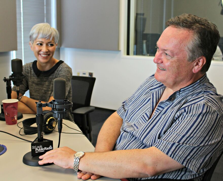 """The St. Louis Chamber Chorus' composer-in-residence, Melissa Dunphy, smiles with artistic director Philip Barnes on """"Cityscape."""""""