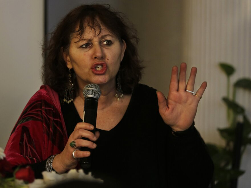 British filmmaker Leslee Udwin addresses a news conference on her documentary <em>India's Daughter </em>on Tuesday. The film, which has been banned in India, was broadcast Wednesday in the U.K. — a decision that has angered the Indian government.