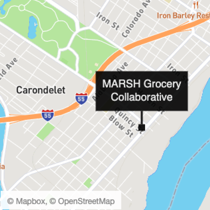 A locator map of MARSH Grocery Collaborative in south St. Louis.