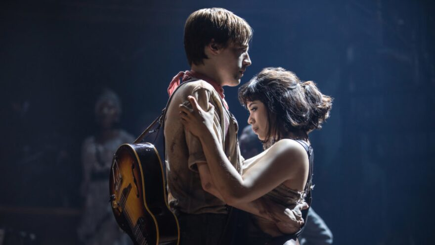 Reeve Carney and Eva Noblezada play Orpheus and Eurydice in the Broadway production of <em>Hadestown</em>.