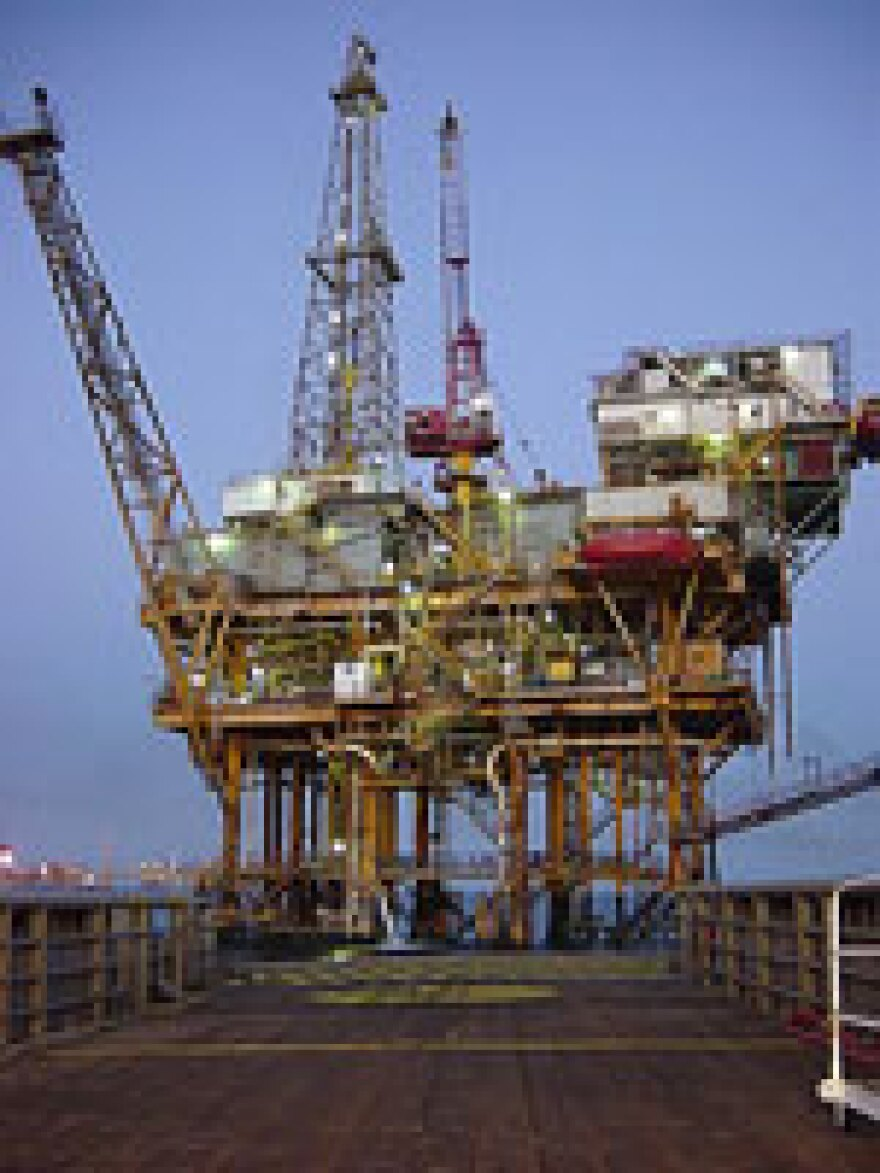 An offshore drilling platform.