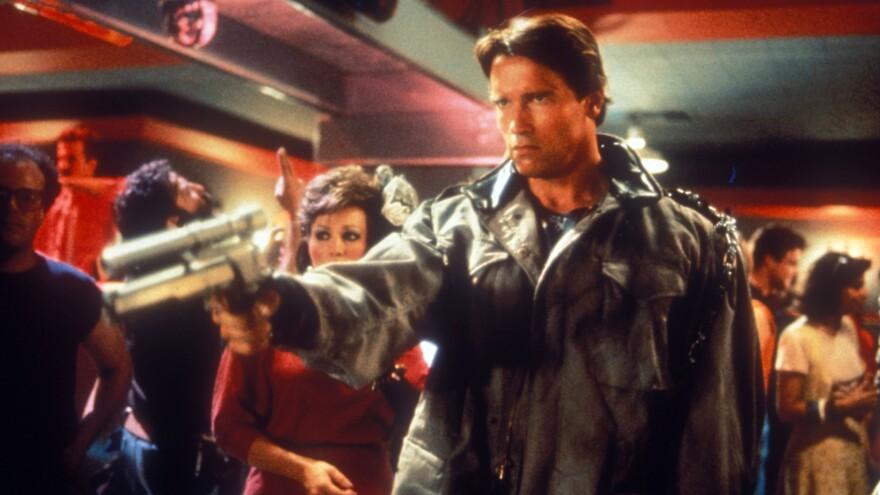 Arnold Schwarzenegger as The Terminator.