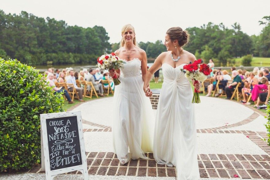 Janet (left) and Jackie Carter's wedding in August 2015. They set up a crowdfunding site to help defray the considerable costs of IVF.